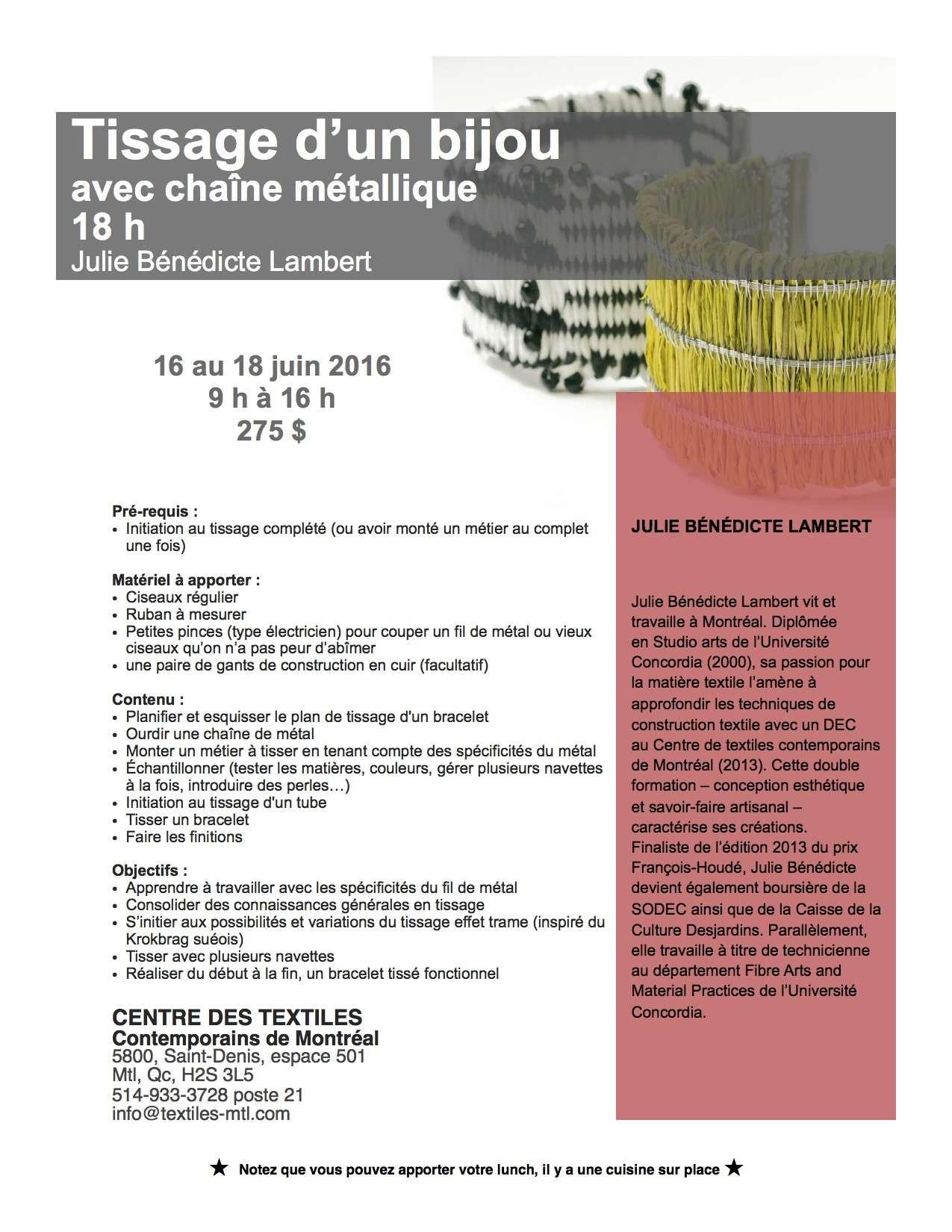 Cours de chaîne métallique au CTCM