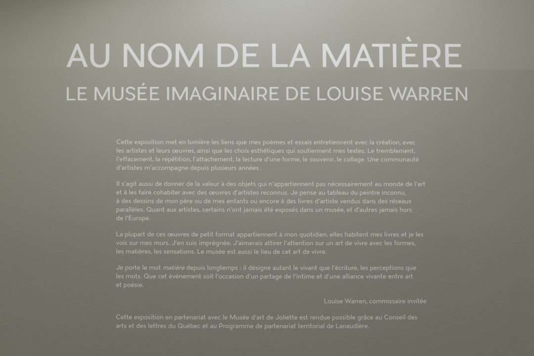 Au nom de la matière. Le musée imaginaire de Louise Warren, vue d'installation 2 au Musée d'art de Joliette, 2020. Photo : Paul Litherland